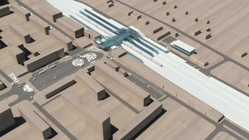 25. Проект реконструкции платформы Лобня. Общий вид. АО «Интегрированные Транспортные Системы». 2015 г.