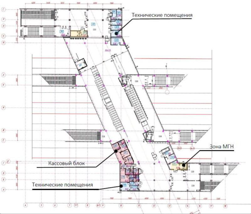 24. Проект платформы Щукинская. Вариант 4. План второго этажа. АО «Мосгипротранс». 2019 год