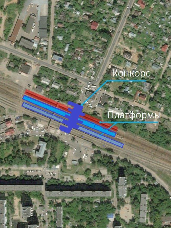 21. Проект реконструкции платформы Нахабино. Вариант 1. План размещения. АО «Мосгипротранс». 2018 год