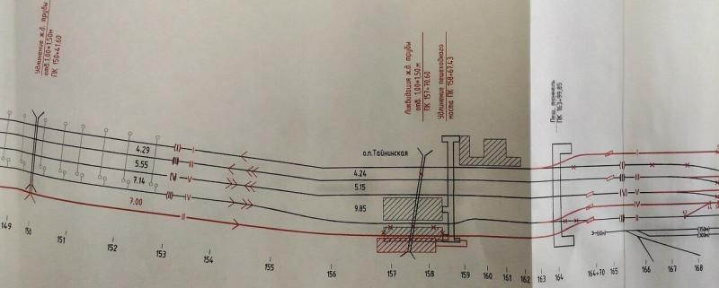 33. Фрагмент схемы переустройства путей для 5-го главного пути на Ярославском направлении. 2017 (?) год.