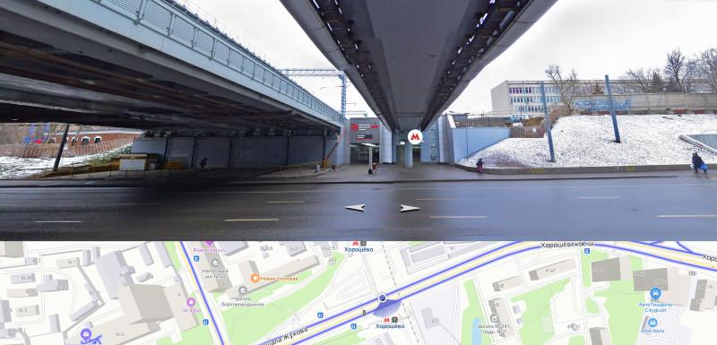 11. Путепровод МЦК и надземный пешеходный переход через Хорошёвское шоссе. Яндекс-Панорамы. 2020 год.