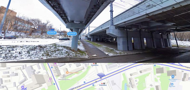 12. Путепровод МЦК и надземный пешеходный переход через Хорошёвское шоссе. Яндекс-Панорамы. 2020 год.