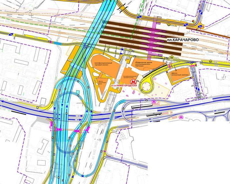 33. Фрагмент проекта Юго-восточной хорды в районе станций МЦК и метро Нижегородская. 2016 год.