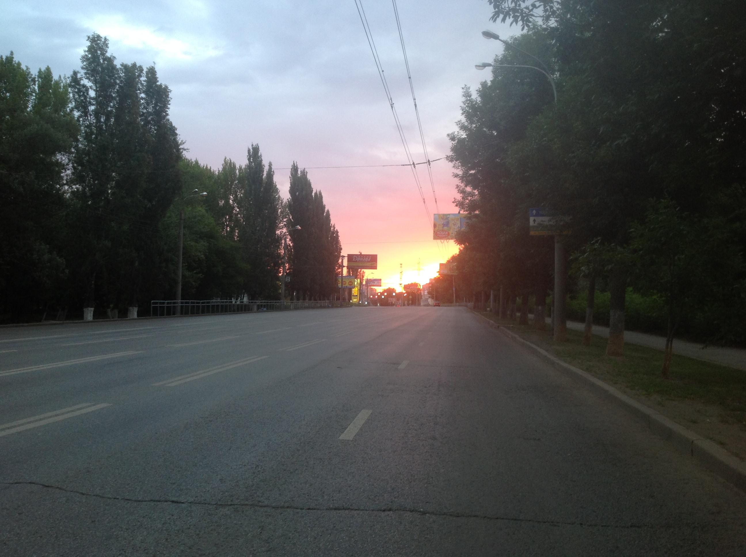 Рассвет на самарских дорогах