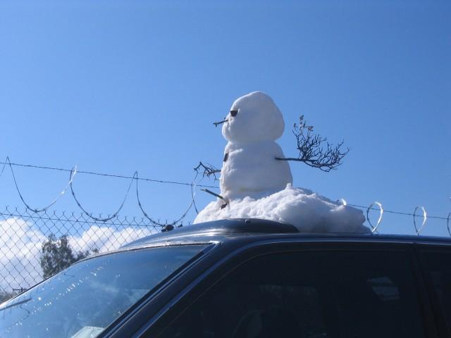 Snowman on Car Roof