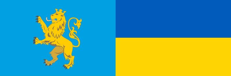 Исторический флаг Львова и государственный флаг Украины.jpg