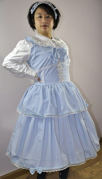 Skyblue Lolita Jumper with White Blouse and Headdress