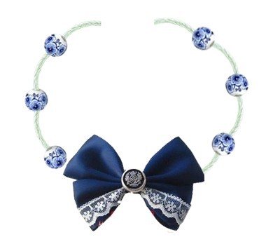 Blue Lolita Neck Belt with Bow and Lace
