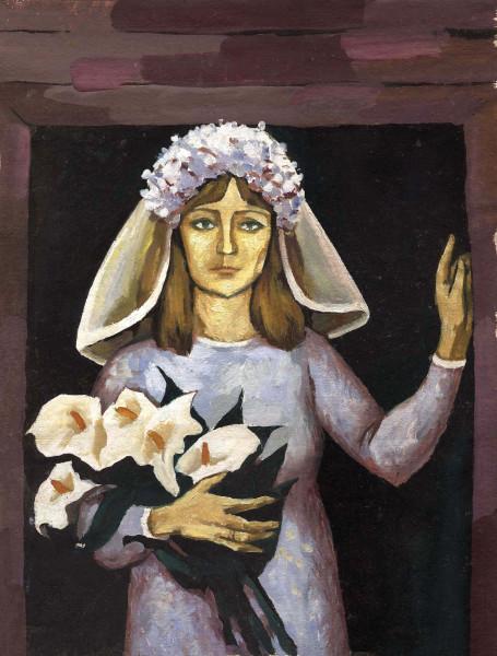 Невеста с лилиями 30x40 - $190