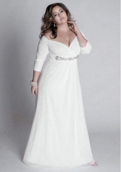 chiffon-off-the-shoulder-neckline-sheath-style-with-beaded-embellished-waistband-plus-size-wedding-dress-wp-0221