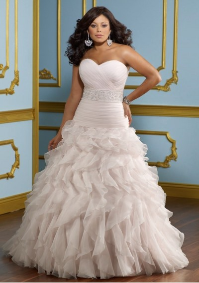 organza-sweetheart-strapless-neckline-beaded-sash-covered-button-back-a-line-style-with-ruffled-skirt-2012-plus-size-wedding-dress-wp-0064