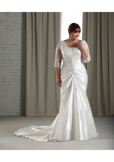 taffeta-and-satin-scoop-neckline-lace-up-applique-accents-bodice-sheath-style-with-gathered-skirt-2012-plus-size-wedding-dress-wp-0075