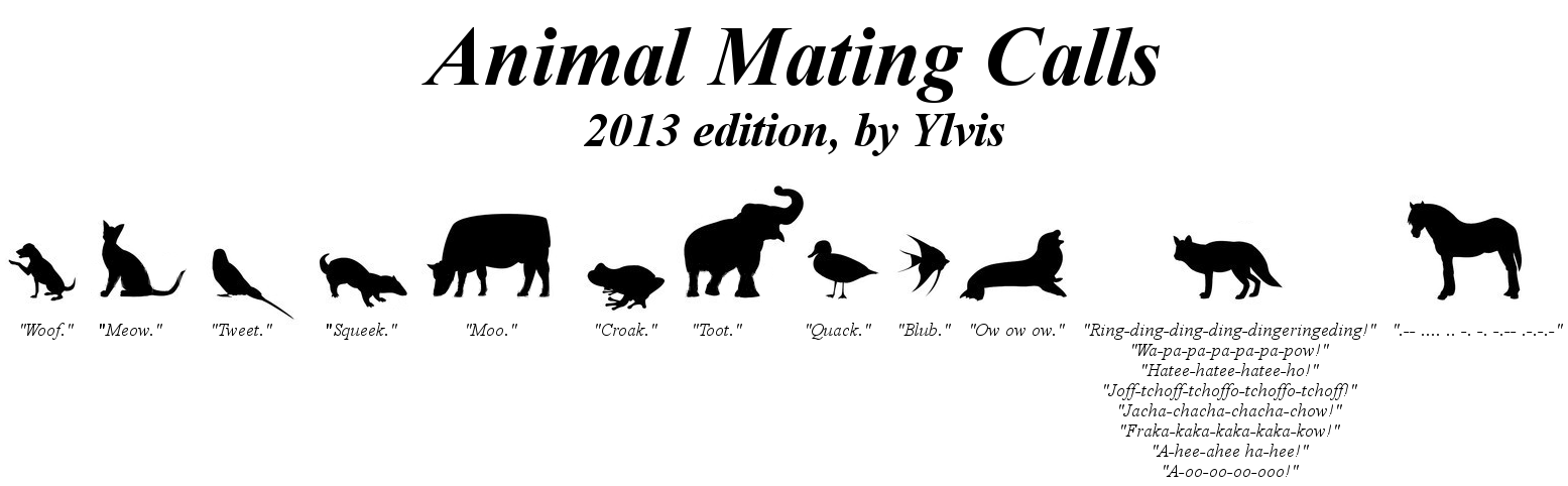 Animal Mating Calls, 2013 edition, Take 2