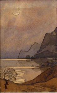М.Волошин. Месяц над Коктебелем. 1927