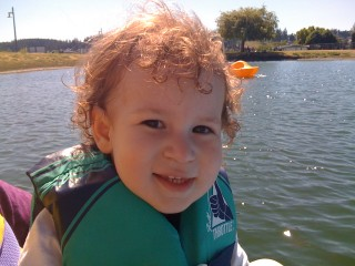 Very happy Aiden in Oak Harbour on a boat