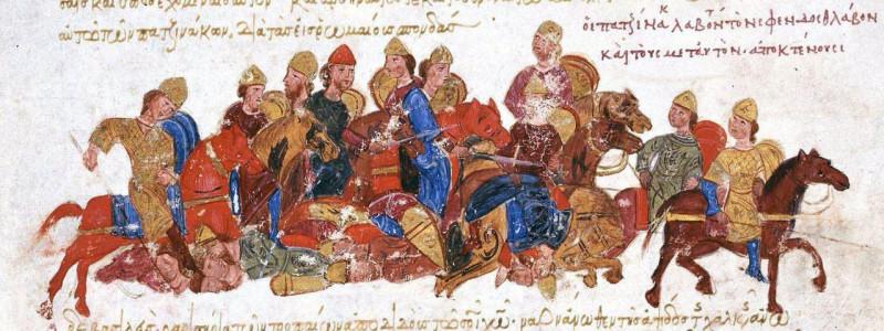 Печенеги убивают князя Святослава.
