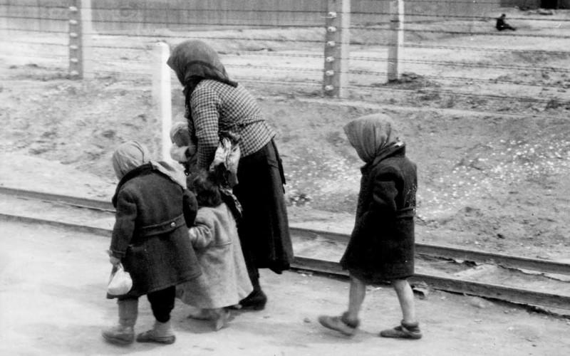 Пожилая женщина с детьми направляется в газовые камеры Аушвица.