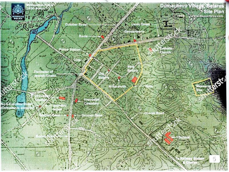 План гетто — желтые линии на карте у улиц. Желтый прямоугольник у болота это место расстрела.