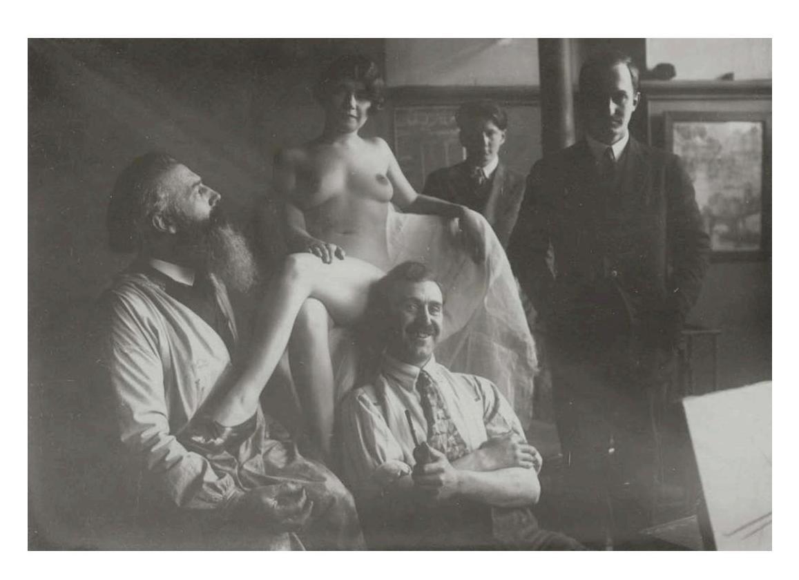 Moment de détente dans l'atelier du peintre Camille Bouchard