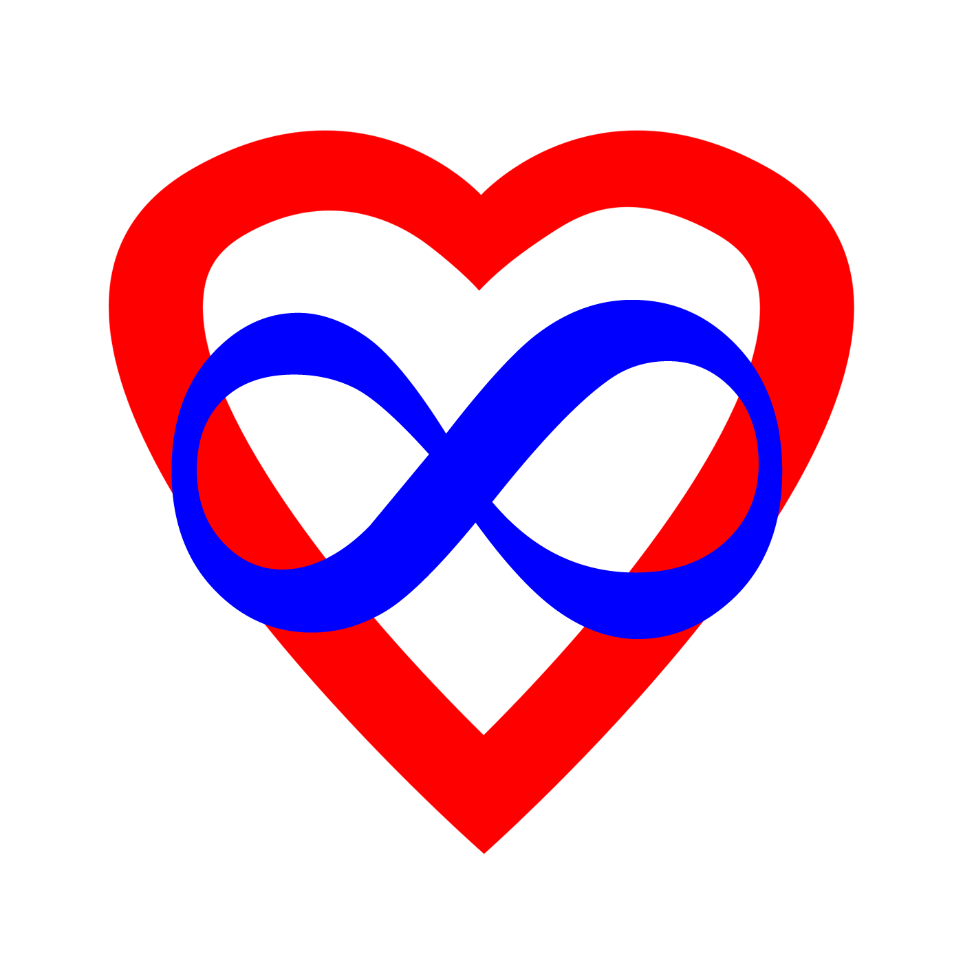 Polyamory logo: a Red heart overlaid with a black infinity symbol