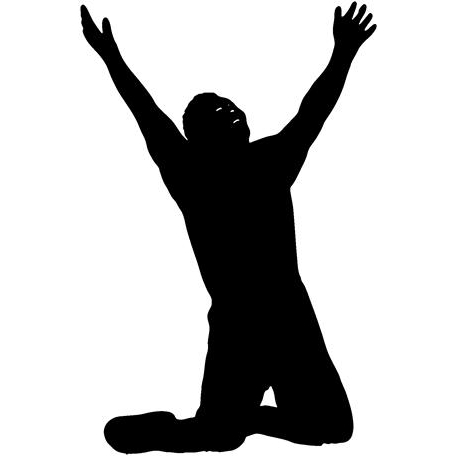 A silhouette of a man on his knees his arms upraised in epiphany.
