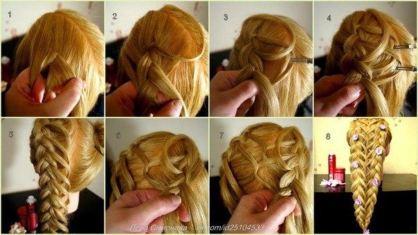 Прически с плетением кос с пошаговым фото