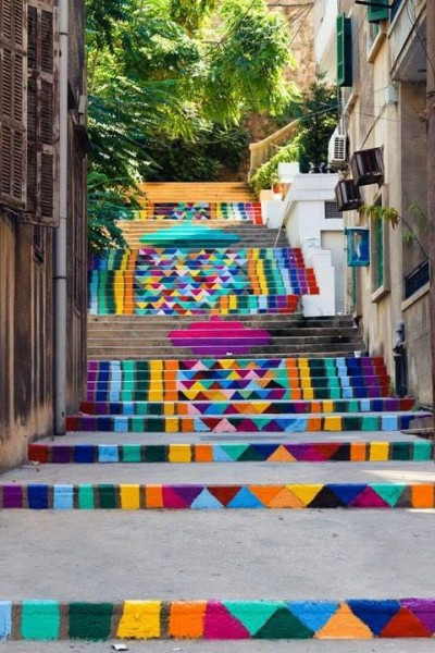 Rainbow street art steps in Beirut, Lebanon