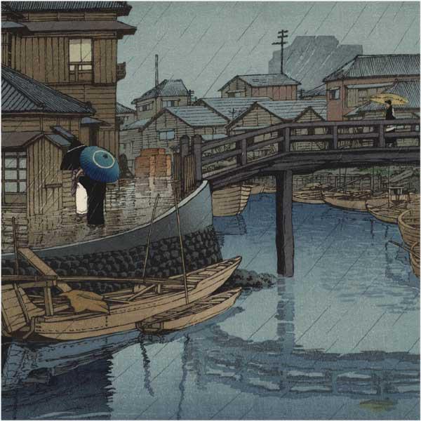Rainy season in Ryoshimashi by Hasui Kawase