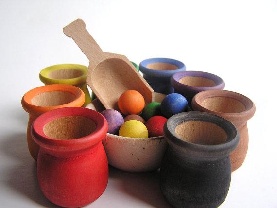waldorf-montessori scoop n sort wooden toy