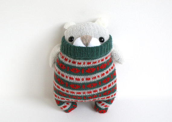Little Polar SockBear from the Remakerie, on Etsy