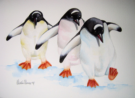 penguins by maria moss 12x8.5 inches