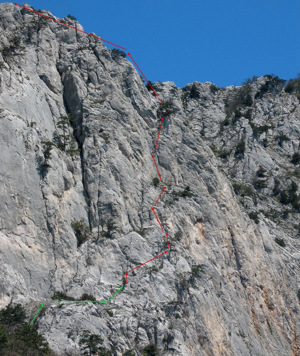 Малый Кильсе, маршрут по Правому краю западной стены юго-восточного гребня, 3Б