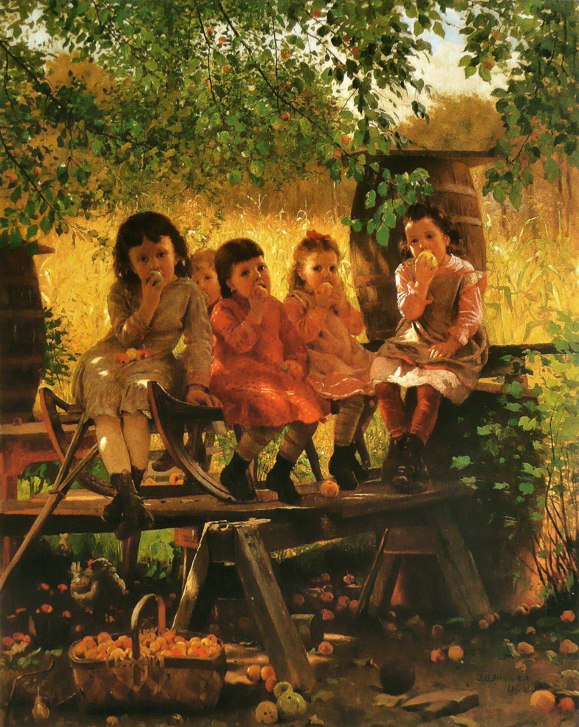Автор John George Brown. The Cider Mill, 1880.