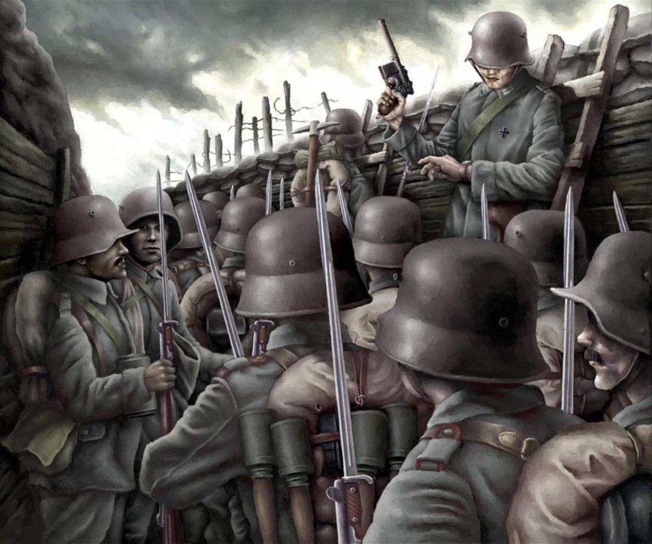 Немецкие солдаты в Битве при Вердене, 1916 год. Art by Lukasz Mieszkowski.