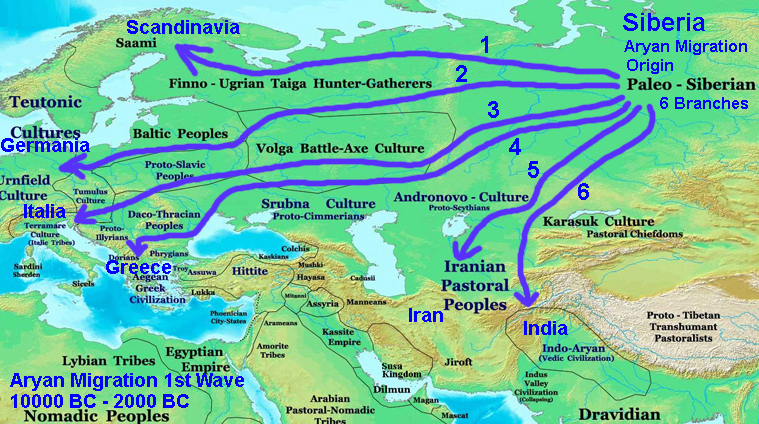 012 Aryan Migration 1st Wave 10,000 BC-2000 BC Map