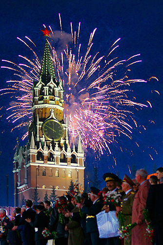 RED SQUARE, MOSCOW. Victory Day fireworks display.