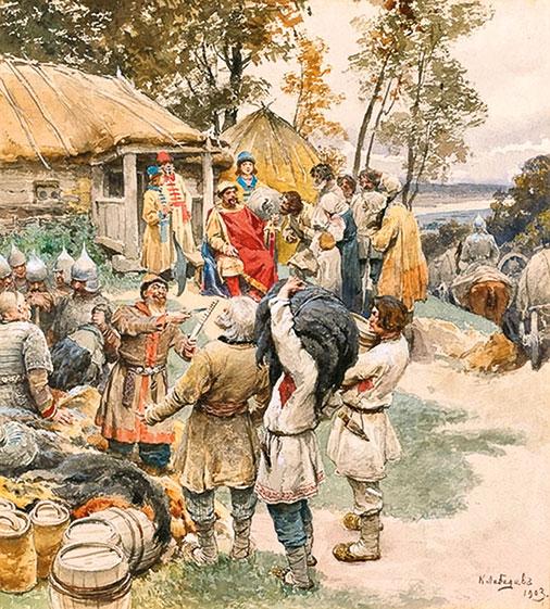 Князь Игорь собирает дань с древлян. К.В. Лебедев