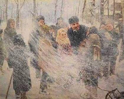 Ленин несет пургу детям