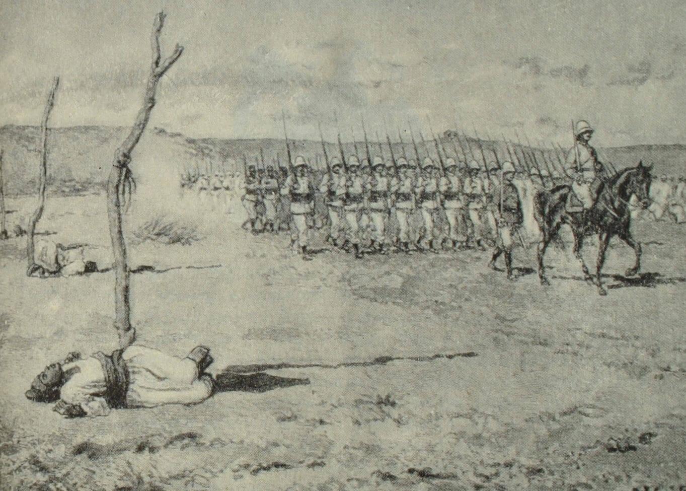 Французские каратели на Мадагаскаре. Рисунок Р. Жерардена по эскизу Л. Тинейра. 1895 г.