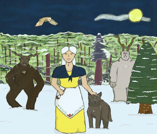 Perchta бродит по деревне в середине зимы
