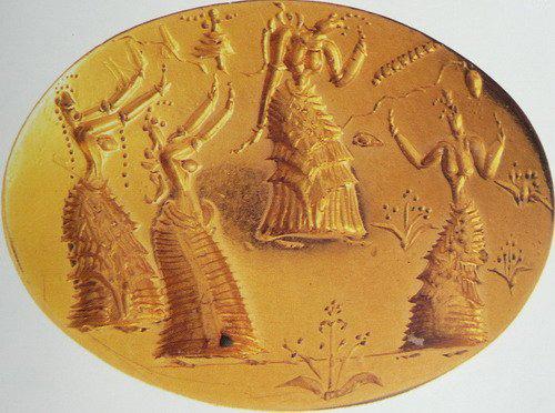 Золотой перстень-печать с изображением ритуального танца. 1500 г. до н.э.