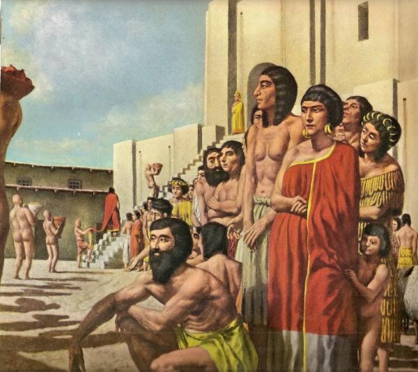 Шумеры сдают в храм произведённые ими товары