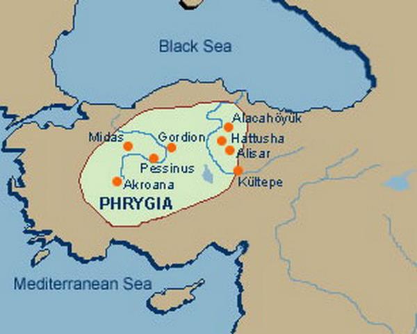 Карта Фригии VIII век до н.э.