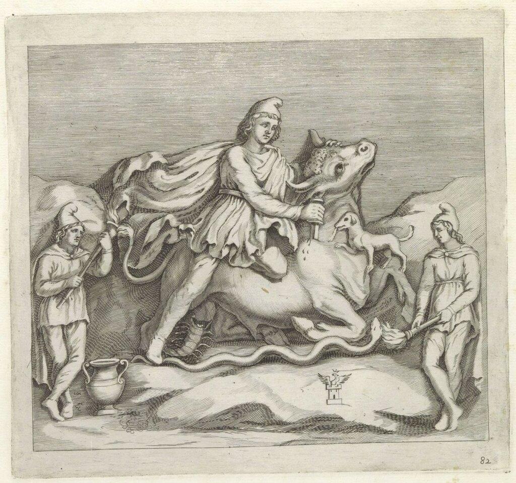 RP-P-2015-6-81Bas-relief met Mithras die een stier doodsteekt, Gabriel Ladame, after Giovanni Andrea Podesta, 1636 - 1647