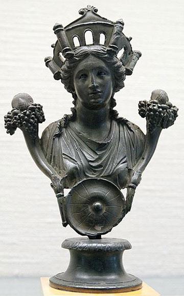 Бюст Кибелы, галло-римская бронза, 1-й век н.э.