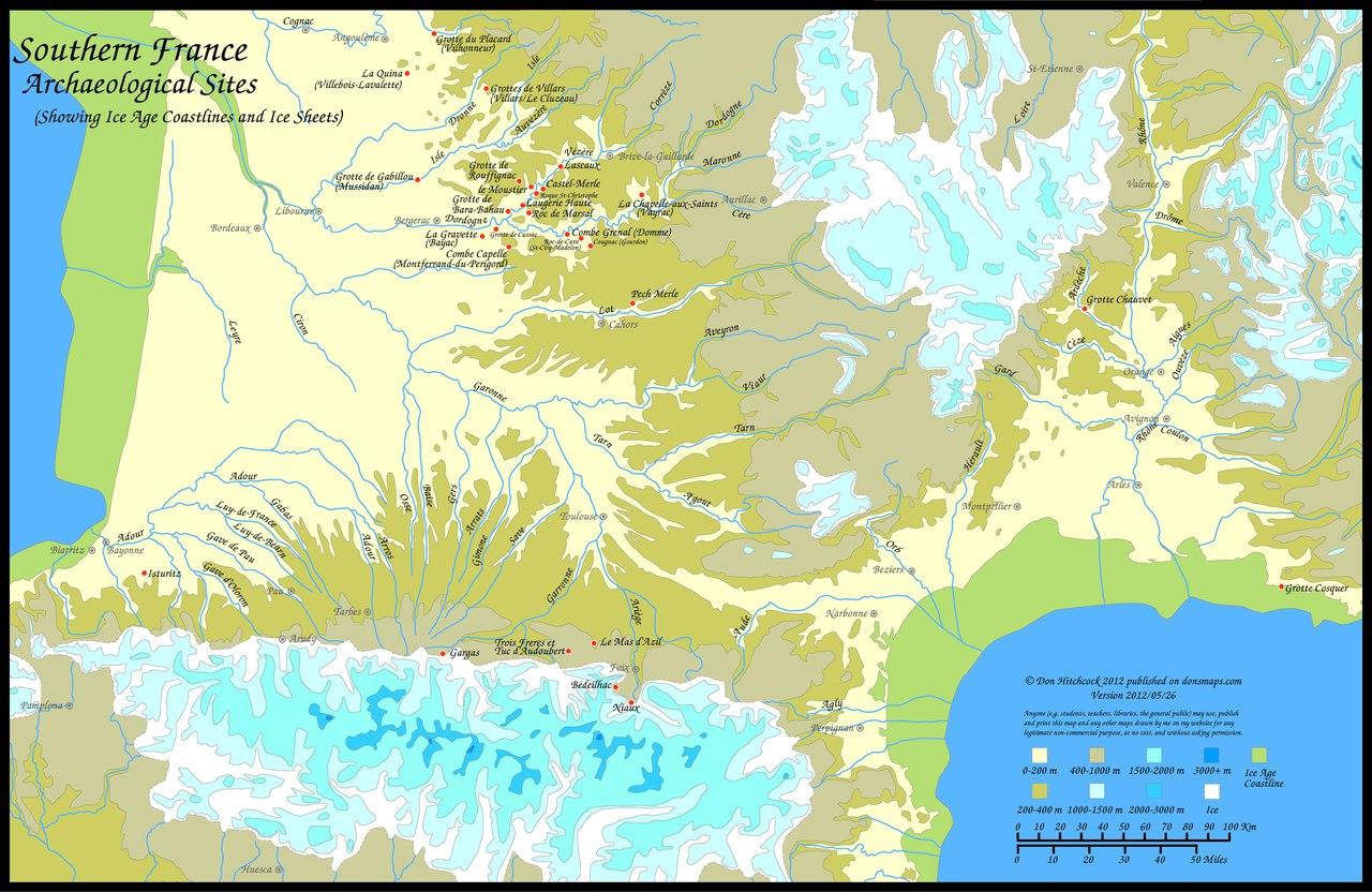 Карта расположения основных пещерных памятников с образцами
