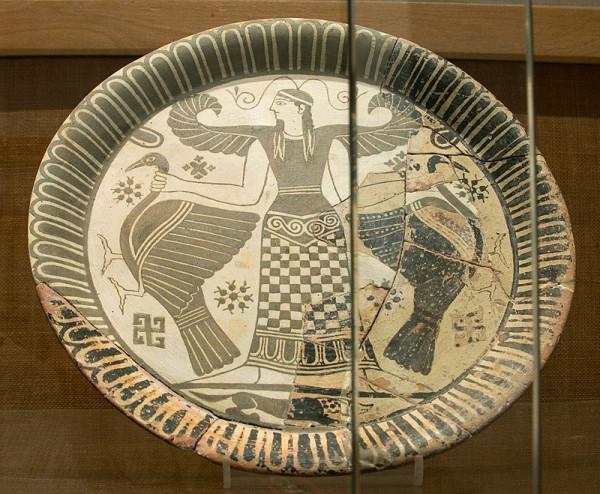 Artemis,_Parian_pottery_plate,_675-600_BC,_AM_Mykonos,