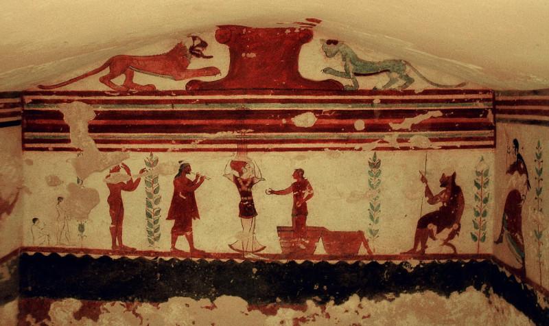 Лев и пантера из этрусской Гробницы Жонглеров, VI век. до н.э.