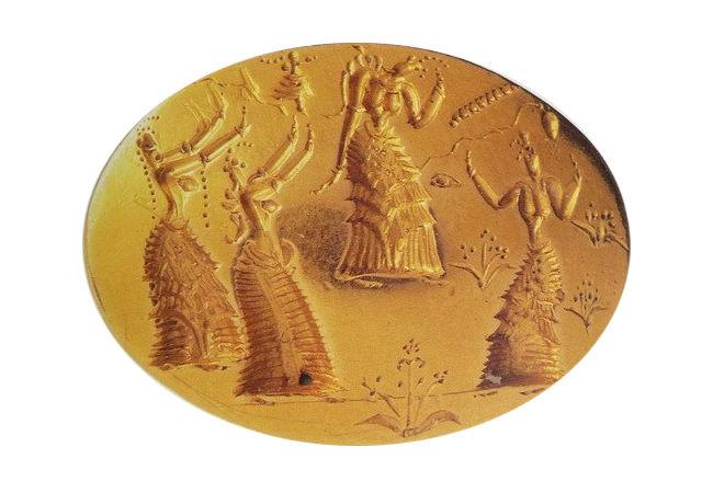 Золотой перстень-печать с изображением ритуального танца. 1500 г. до нашей эры.