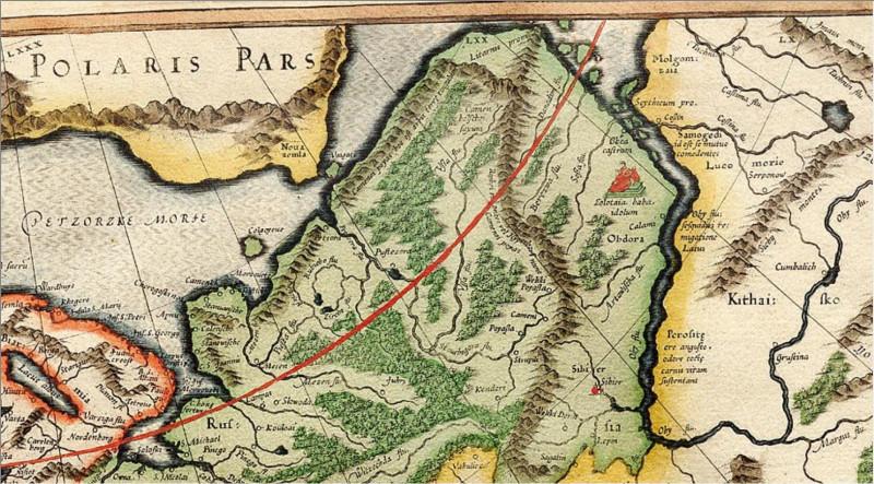 Карта Меркатора 1595 с золотой бабой